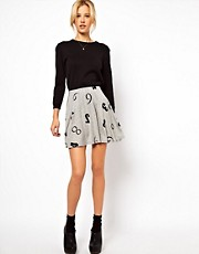 ASOS Skater Skirt in Numbers Print