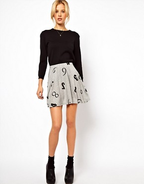 Image 1 ofASOS Skater Skirt in Numbers Print