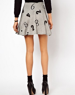 Image 2 ofASOS Skater Skirt in Numbers Print