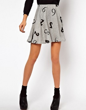 Image 4 ofASOS Skater Skirt in Numbers Print