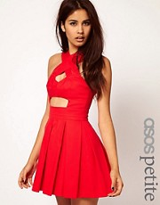 ASOS PETITE Exclusive Skater Dress With Strappy Cut Out Middle