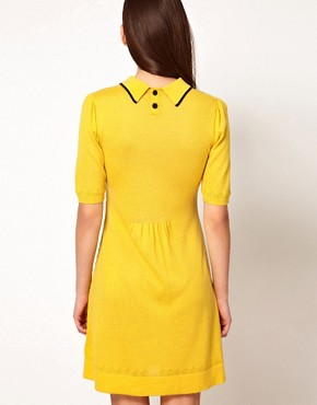 Image 2 ofOrla Kiely Knitted Dress in Boat Pointelle
