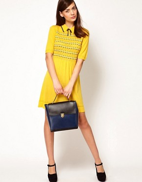 Image 4 ofOrla Kiely Knitted Dress in Boat Pointelle