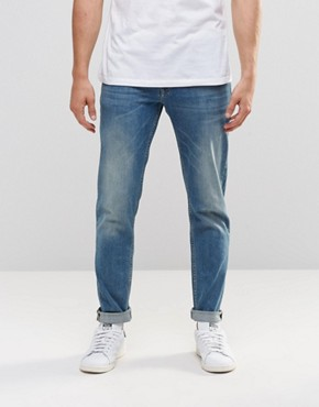 ASOS Stretch Slim Jeans In 12.5oz In Light Blue Wash