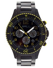 Marc By Marc Jacobs  Schwarz-gelbe nautische Steinuhr