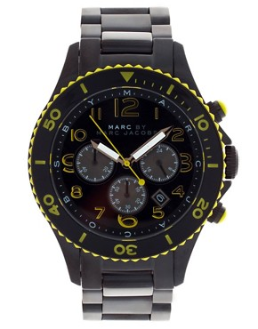 Image 1 of Marc By Marc Jacobs Black & Yellow Marine Rock Watch