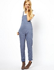 ASOS - Salopette lunga in chambray a pois