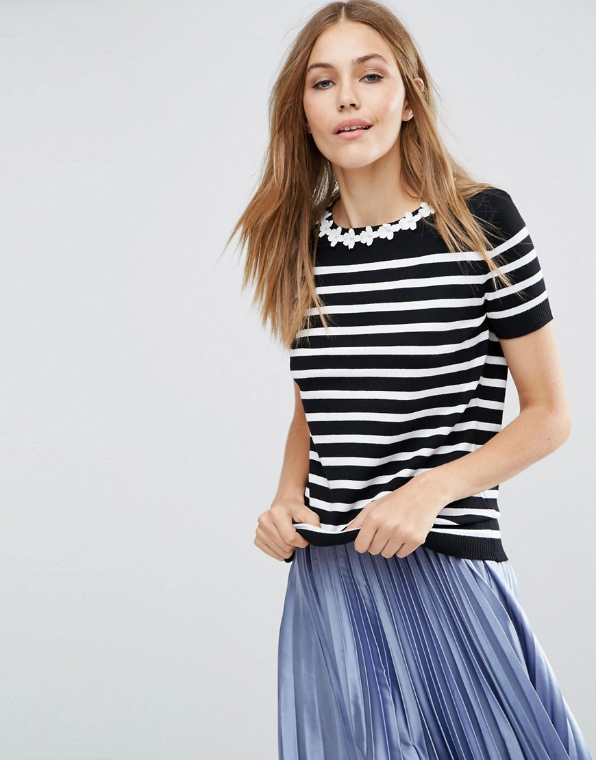 Poppy Lux Piper Daisy Stripe Sweater - Black