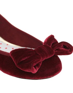 Image 2 of ASOS LUX Velvet Bow Ballet Shoes