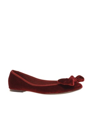Image 1 of ASOS LUX Velvet Bow Ballet Shoes