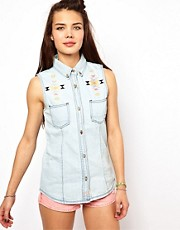 Bellfield Denim Sleeveless Shirt With Tribal Embroidery