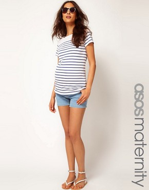 Image 1 ofASOS Maternity Exclusive Denim Short