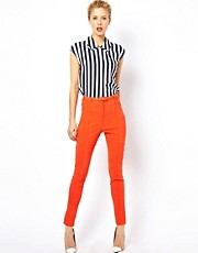 ASOS High Waist Belted Trouser in Skinny Fit