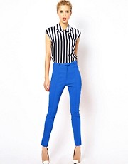 ASOS High Waist Belted Pant in Skinny Fit