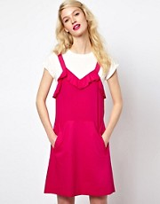 Sonia by Sonia Rykiel Dungaree Dress in Silk with Tshirt Underlay