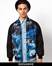 Reclaimed Vintage Varsity Jacket With Panelled Moonlight Bear Print