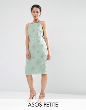 ASOS PETITE WEDDING Embellished Drape Back Midi Dress