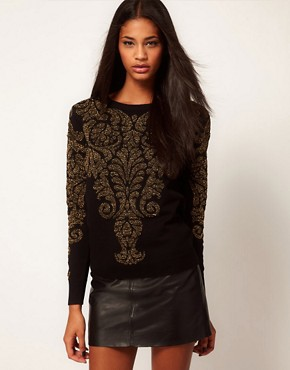 Image 1 of Glamorous Sweater in Metallic Baroque