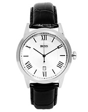 Boss by Hugo Boss Leather Black Strap Watch