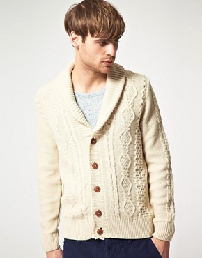 Imagen 1 de Crdigan con cuello esmoquin de punto de aran de River Island