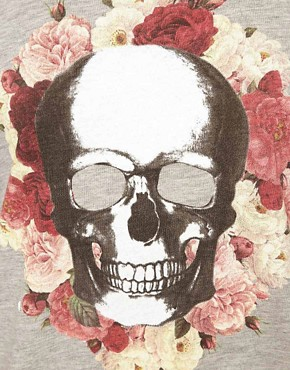 Image 3 ofASOS Boxy T-Shirt with Skull and Roses