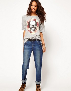 Image 4 ofASOS Boxy T-Shirt with Skull and Roses