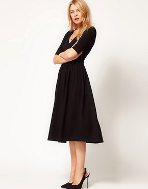 Image 1 ofASOS Midi Dress With Ballet Wrap