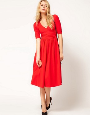 Image 4 ofASOS Midi Dress With Ballet Wrap