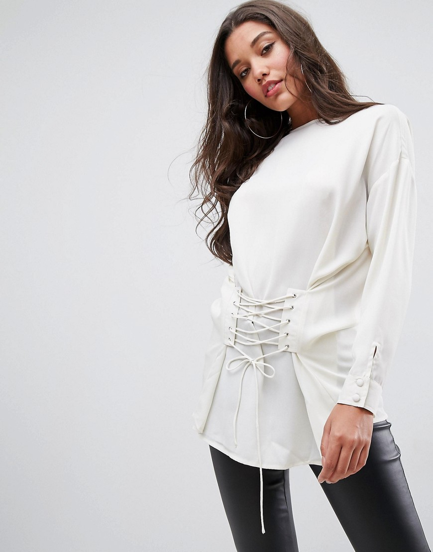 ASOS Top With Corset Detail - Ivory