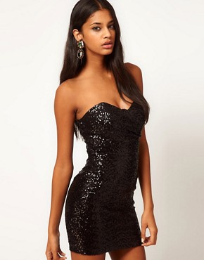 Image 1 ofTFNC Bandeau Sweetheart Sequin Dress