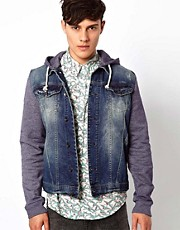 River Island Denim Jacket With Jersey Sleeves