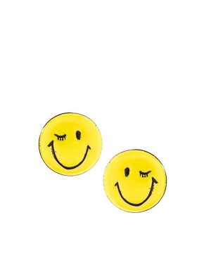 Image 1 ofASOS Happy Face Stud Earrings