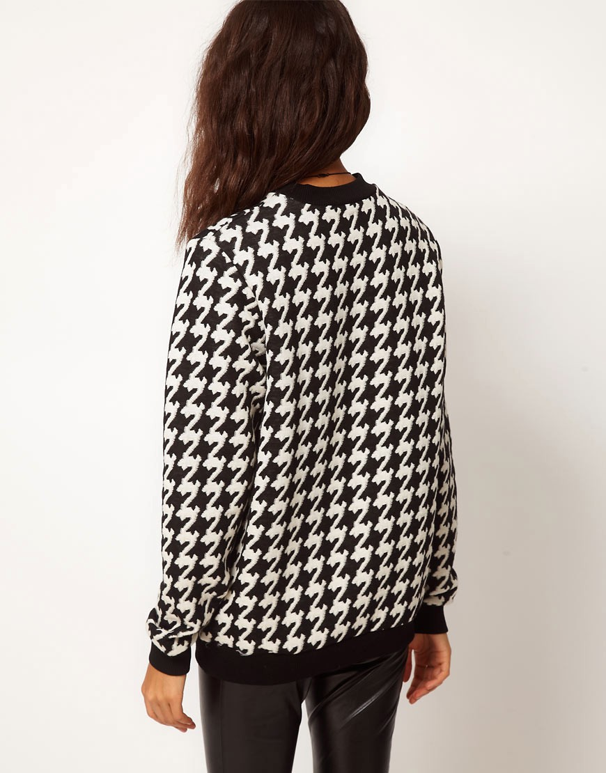 Image 2 of ASOS Sweatshirt in Quilted Dogtooth