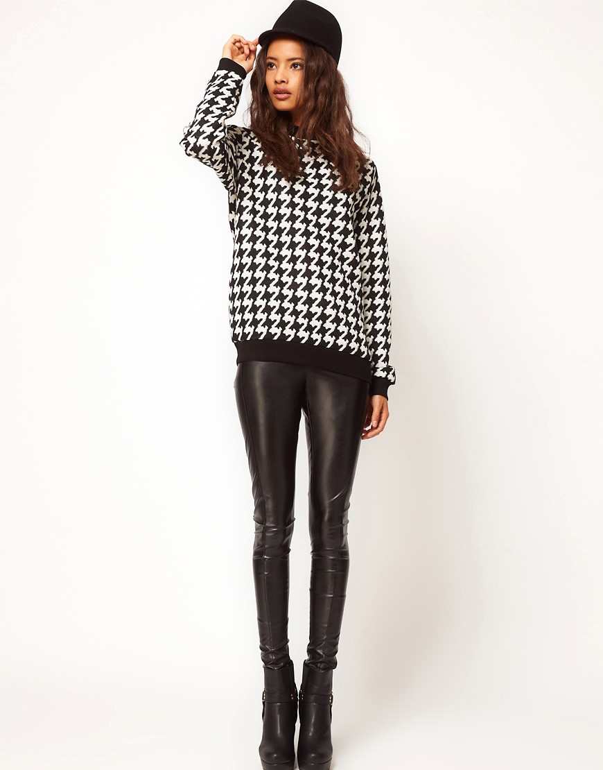 Image 4 of ASOS Sweatshirt in Quilted Dogtooth