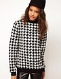 Image 1 of ASOS Sweatshirt in Quilted Dogtooth