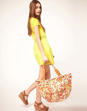 Image 3 ofASOS Floral Print Pocket Shopper Bag