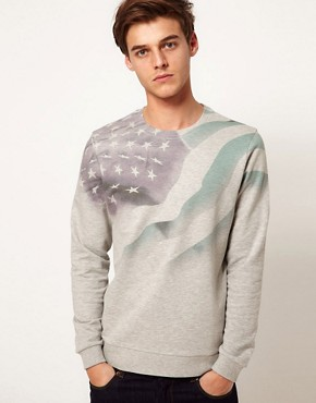 Image 1 ofASOS Sweatshirt With Sublimated Flag