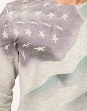 Image 3 ofASOS Sweatshirt With Sublimated Flag
