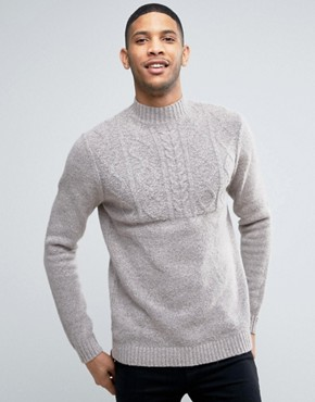 ASOS Cable Sweater with Turtleneck in Soft Yarn