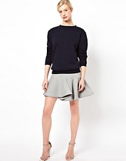 Chalayan Grey Line Whirl Skirt in Grey Marl Sweat