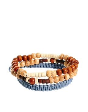 Image 1 ofASOS Blue Rope Bead and Band