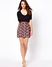 A Wear Button Front Belted Skirt