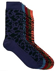 River Island Animal Design 5 Pack Socks