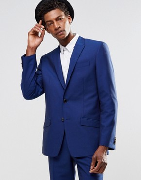 River Island Slim Fit Suit Jacket In Blue