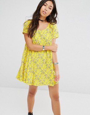 Motel Smock Dress With Ditsy Floral Print