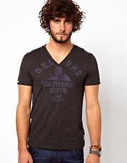 G Star T-Shirt Art Buell V-Neck Logo