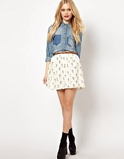 River Island Cat Print Skater Skirt