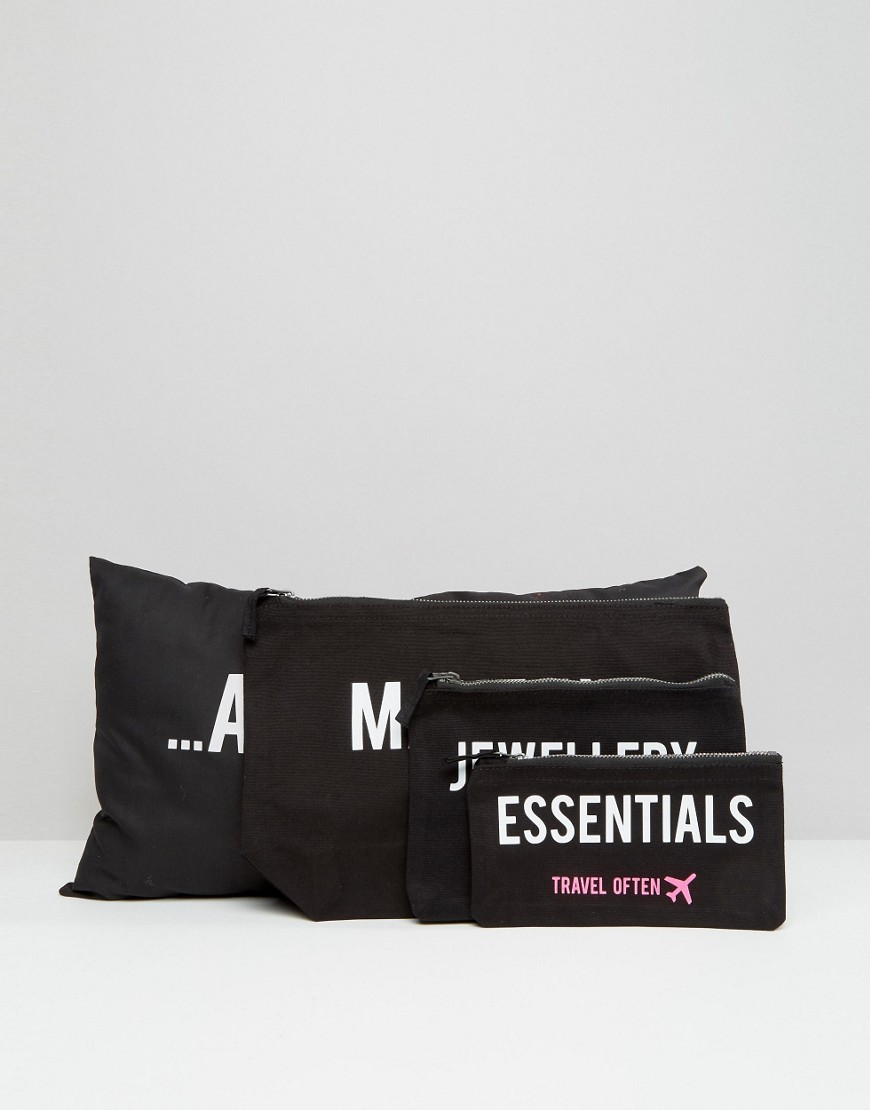 crazy-haute-3-piece-travel-bag-set-with-relax-slogan-cushion-black
