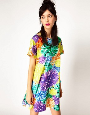 Image 1 ofHouse of Holland Tee Dress in PomPom Floral