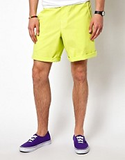 Jimmy&#39;Z  Surf Leash  Neonfarbene Leinenshorts mit flacher Vorderseite, 19 Zoll